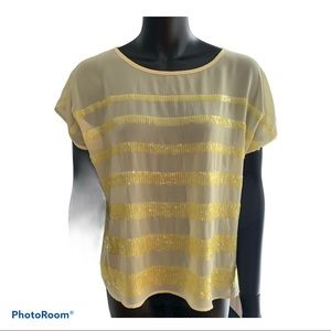 Sheer Yellow Sequin stripped top Forever XXI M